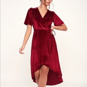 AMOUR WINE RED VELVET HIGH-LOW WRAP DRESS